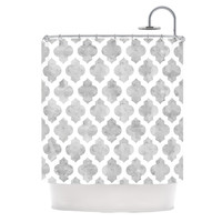 "Amanda Lane ""Gray Moroccan"" Grey White Shower Curtain"