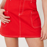 BDG Contrast Stitch Twill A-Line Mini Skirt - Urban Outfitters