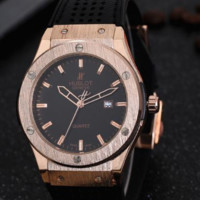 HUBLOT men and women delicate tide brand three-pin laser hole watch F-PS-XSDZBSH Black wristwatch + gold case + black dial