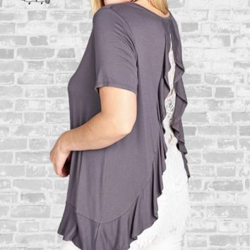 Lace Back Ruffle Top - Charcoal -  2X & 3X