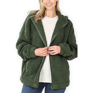 Full Zip Up Sherpa Hoodie Jacket (CLEARANCE)