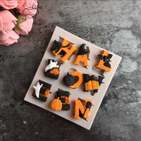 1pc Halloween Molds Fondant Cream Chocolate Silicone Molds Hand Skeleton Spider Bats Pumpkin Clay For Kitchen Baking #11030