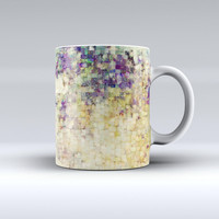 The Grungy Abstract Purple Mosaic ink-Fuzed Ceramic Coffee Mug