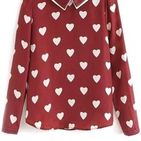 School Girl Peter Pan Heart Blouse - OASAP.com