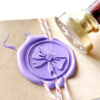 Bow Ribbon Gold Plated Wax Seal Stamp x 1