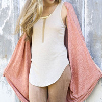 Hold Me Close Rust Heather Knit Cocoon Cardigan With Dolman Sleeves