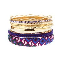 Purple Embroidered Ribbon Bangles - 10 Pack by Charlotte Russe