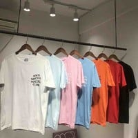 ASSC Anti social social club Summer fashion new bust side letter and back letter print short sleeve t-shirt top