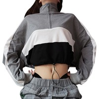 Women Hoodie Tracksuit Sweat Coat Casual Sportswear Long-Sleeve Pullover Sweatshirt Blouse Zipper Crop Tops Patchwork Shirt Coat