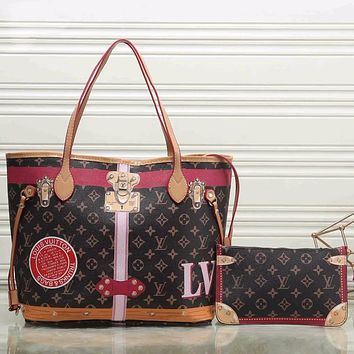 LV Louis Vuitton hot sale classic color matching printed letters ladies two-piece handbag shoulder bag shopping bag