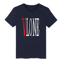 Trendy VLONE Letter Print Women/Men Comfortable T-Shirt Casual Hipster Quality 100%Cotton Unisex Summer Cool Top Simple Tees 4XL