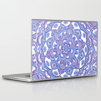 Lilac Spring Mandala - floral doodle pattern in purple & white Laptop & iPad Skin by micklyn