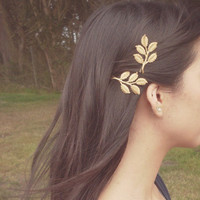 Gold Leaf Branch Bobby Pins Leaf Bobby Pins Rustic Woodland Wedding Hair Accessories Nature Inspired Cute Adorable Elegant Romantic