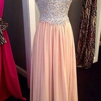 Blush Pink Prom Dresses,Sparkle Prom Dresses,Long Evening Dress