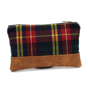 Plaid Zipper Pouch, Blue Makeup Pouch, Wool Leather Clutch, Vegan Leather Pouch, Small Clutch Bag, Tartan Zip Pouch, Small Fabric Clutch
