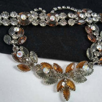 Brown, Grey & Aurora Borealis Rhinestone Necklace Bracelet Set - 50's 60's Demi Parure -  Unsigned Beauties - Old Hollywood Glam