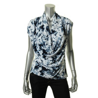 ECI New York Womens Matte Jersey Printed Pullover Top