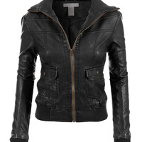 LE3NO Womens Faux Leather Zip Up Biker Moto Jacket