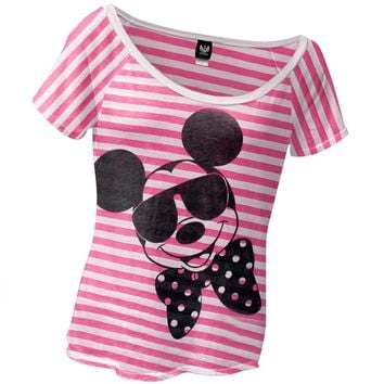 Mickey Mouse - Shades and Bowtie Juniors Slouch T-Shirt