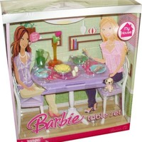 Barbie My House Accessories Set - Dining Room Table with Puppy Dog, Jug, Vase with Flower, 2 Glasses, 2 Dinner Plate, 2 Sets of Silverware, Salt and Pepper, 2 Bowls of Green Salad and Potato Salad and 2 Chairs (My House Playset and Doll are Sold Separately
