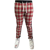 Plaid Trackpants in Red