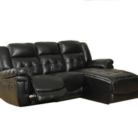 Black Bonded Leather / Match Reclining Sofa Lounger