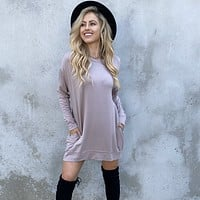Cold Front Almond Sweater Dress