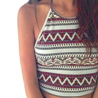 2016 Sexy crop top Women Boho Tank Tops Bustier Crop Shirt Blouse Cami Plus Size S-XL Geometric print Tees Vest , Best Selling