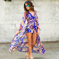Long Sleeve V-Neck Printed Wrapped Romper