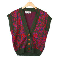 Vintage 70s Green and Hot Pink Paisley Hot Mess Ugly Sweater Vest