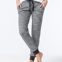 Almost Famous Space Dye Womens Thermal Jogger Pants Black/White  In Sizes