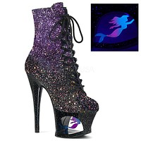 "Moon 1020MER Purple Black Blended Glitter Cut Out Mermaid Ankle Boot - 7"" High Heels"
