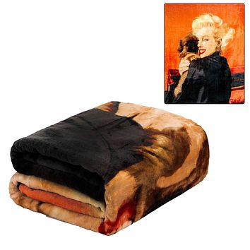"JPI Plush Throw Blanket - Marilyn Monroe Puppy - Queen Bed 79""x 95"" - Special Edition Faux Fur Blanket for Home Decor, Bedding Sets, Sofa Bed, Couch, Picnic Blanket, Camping Blanket"