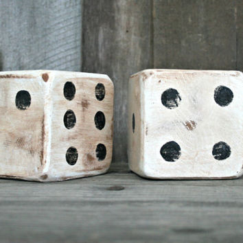 Oversized Wooden Dice - Ecclectic Home Decor - Handmade, Rustic, Distressed