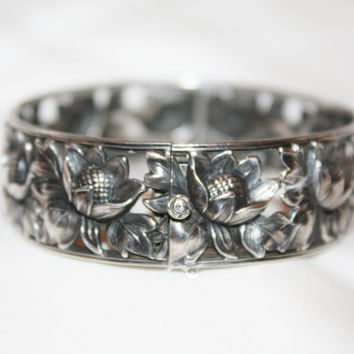 Art Deco Sterling Bracelet, Floral Bangle Bracelet, Antique Germany Bracelet, Signed 1930s Jewelry