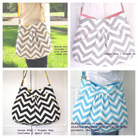 Large Baby Diaper Bag, Hobo Bag, Gray Chevron Purse, Pink Accents with 2 Deep FRONT Pockets,  Also Comes In EXTRA Large