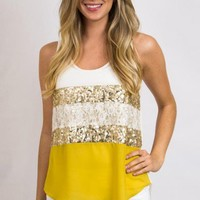 Women's Cream and Yellow Sequin Blouse - Sequin and Lace Blouse