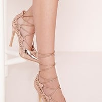 Missguided - Laser Cut Lace Up Court Shoes Rose Gold