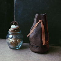 rune bag • leather medicine pouch - upcycled leather bag - spell bag - viking pouch - witch bag - brown leather drawsting pouch