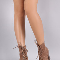 Suede Corset Lace Up Chunky Heeled Ankle Boots
