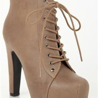 Platform High Heel Bootie with Round Toe and Lace Up Front