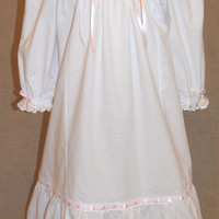 Girls white nightgown , Clara , Victorian nightgown , pink ribbon , toddler nightgown , long sleeve , ready to ship size 3T 4T