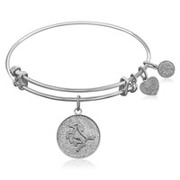 Expandable Bangle in White Tone Brass with Horse Symbol
