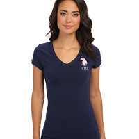 U.S. POLO ASSN. V-Neck Short Sleeve T-Shirt with Big Pony and #3