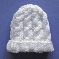 White Cable Knit Baby Hat Size Newborn 0 to 3 Months Hand Knit Beanie Cap