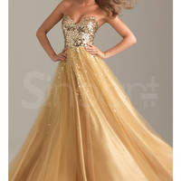 Fabulous Sweetheart Neckline Floor Length Tulle Sequined Ball Gown Prom Dress from SinoAnt