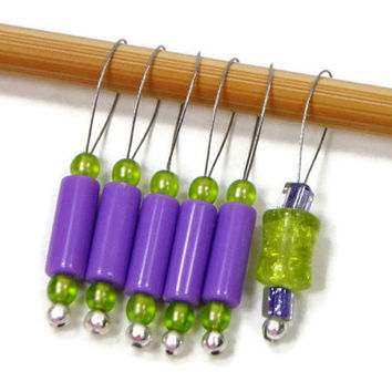 Knitting Stitch Markers Snag Free Lime Green Purple DIY Knitting Tools Gift for Knitter TJBdesigns