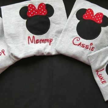 Family Vacation - 4 Mickey or Minnie Mouse T-Shirts in Heather Gray - CUSTOM