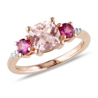 0.02 CT  Diamond TW And 2 CT TGW Morganite Pink Tourmaline Fashion Ring  Pink Silver GH I2;I3 Pink Plated