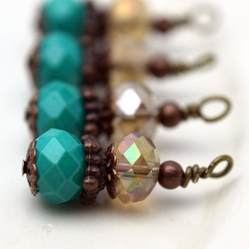 Vintage Style Bead Dangle Charm Drop Set in Brass with Turquoise and Smokey AB Topaz Crystal Rondelles